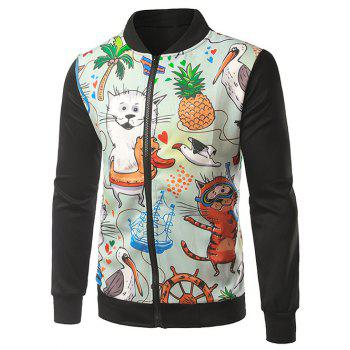 Rib Splicing Stand Collar Zip-Up Cartoon Print Jacket