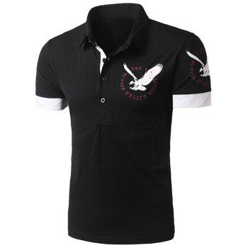 Spliced Design Short Sleeve Eagle Print Polo T-Shirt