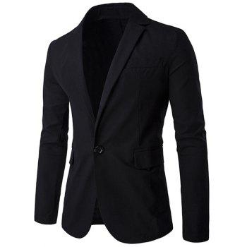 Lapel Cotton+Linen One Button Design Blazer