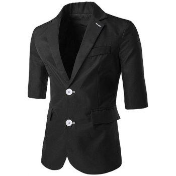 Lapel Side Slit Single-Breasted Three-Quarter Sleeve Blazer