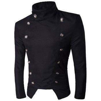 Stand Collar Double-Breasted Irregular Design Blazer