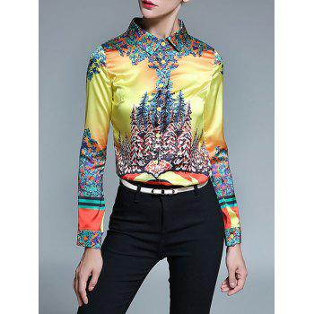 Retro Abstract Print Satin Shirt