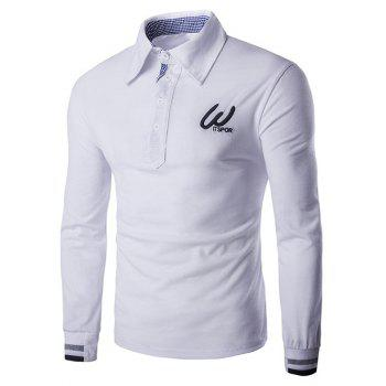 Rib Cuffs Letters Embroidered Polo T-Shirt