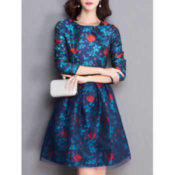 Retro Rose Flower Flare Dress