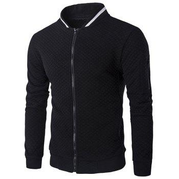 Rib Splicing Argyle Knurling Stand Collar Jacket
