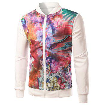 Colorful Floral Print Splicing Zip-Up Jacket