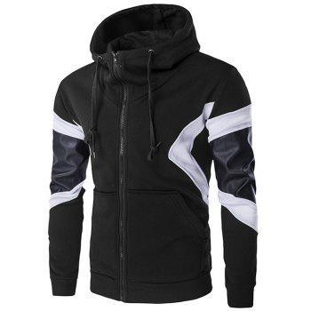 Front Pocket PU Leather Splicing Hoodie