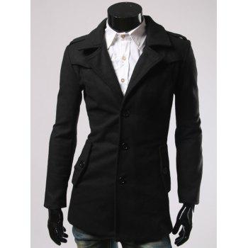 Single-Breasted and Pocket Design Woolen Blend Coat