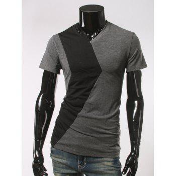 Short Sleeve Button Embellished V Neck T-Shirt