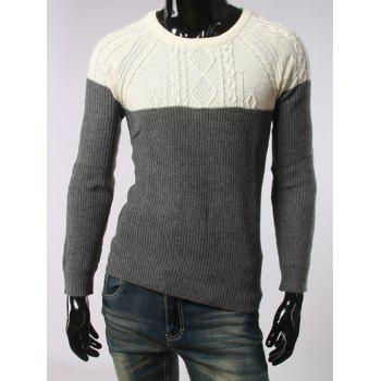 Geometric Jacquard Long Sleeves Color Spliced Sweater
