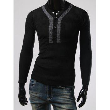 Buy Long Sleeves Button Design V Neck Sweater BLACK