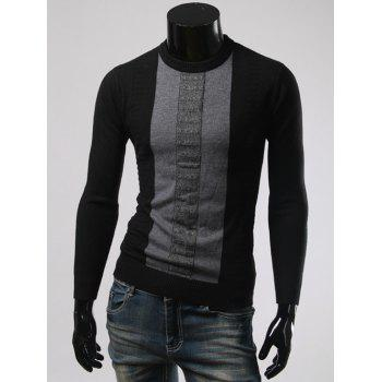 Long Sleeve Color Splicing Round Collar Sweater