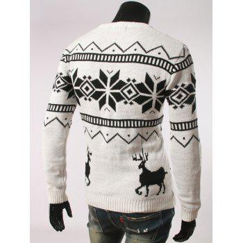 Fawn and Snow Pattern Long Sleeve Christmas Sweater - WHITE XL