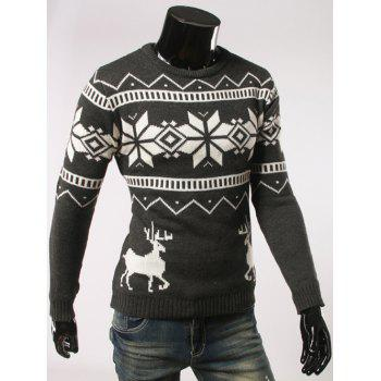 Fawn and Snow Pattern Long Sleeve Christmas Sweater - DEEP GRAY L