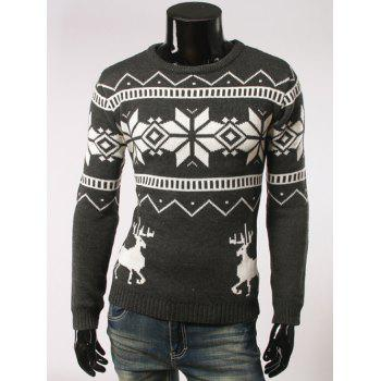 Fawn and Snow Pattern Long Sleeve Christmas Sweater