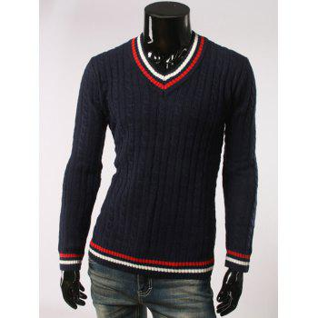 Slimming Stripes Pattern V Neck Long Sleeve Sweater