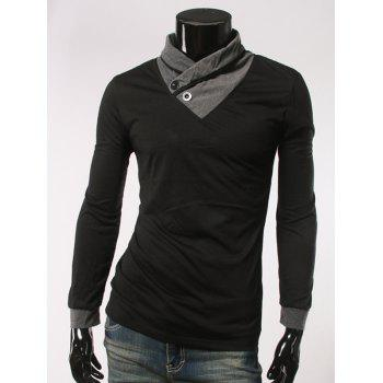 Slimming Single Button Embellished Long Sleeve T-Shirt