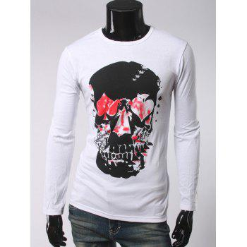 Round Neck Long Sleeve 3D Skull Printed T-Shirt