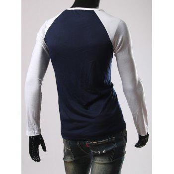 Color Block Slimming Raglan Sleeve T-Shirt - CADETBLUE M