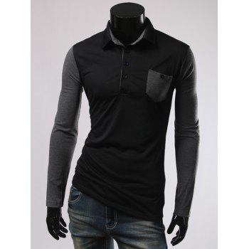 Long Sleeve Button and Pcoket Embellished Polo T-Shirt