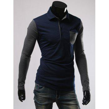 Long Sleeve Button and Pcoket Embellished Polo T-Shirt - CADETBLUE XL