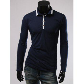 Long Sleeves Splicing Polo T-Shirt