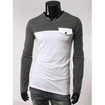 Long Sleeve Fastener Embellished V-Neck T-Shirt