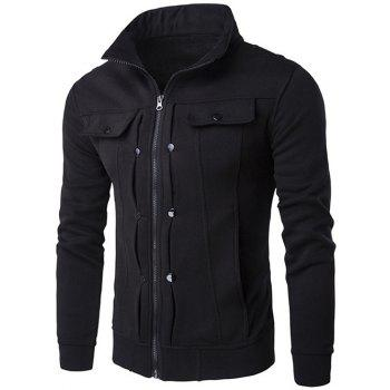 Buttoned Pleated Stand Collar Zip Up Jacket - BLACK BLACK