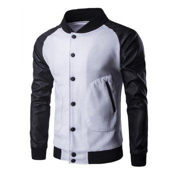 PU Leather Insert Button Up Raglan Sleeve Jacket