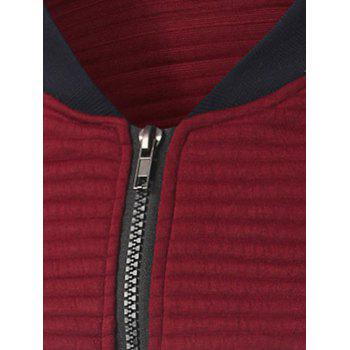 Insert Zip Up Ribbed Jacket - RED L
