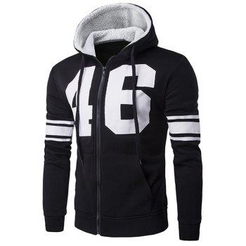 Zip Up Striped Sleeve Graphic Hoodie
