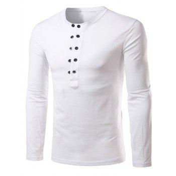 Button Up Long Sleeve Henley Shirt