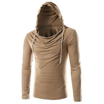 Plain Long Sleeve Drawstring Hooded T-Shirt