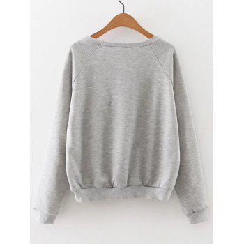 Raglan Sleeve Team Internet Sweatshirt - LIGHT GRAY S