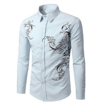 Long Sleeve Tattoo Print Shirt