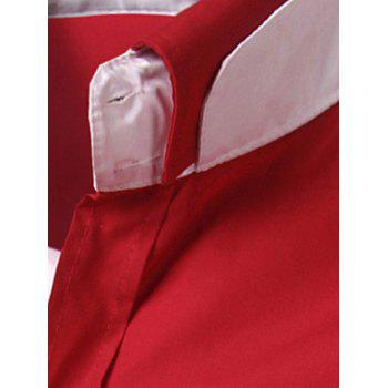 Back Pleat Convertible Collar Long Sleeve Shirt - RED L