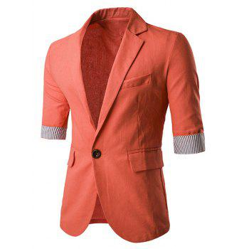 Flap Pocket Three Quarter Sleeve One-Button Blazer