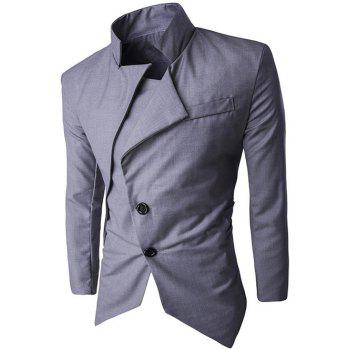 Back Vent Stand Collar Asymmetrical Blazer