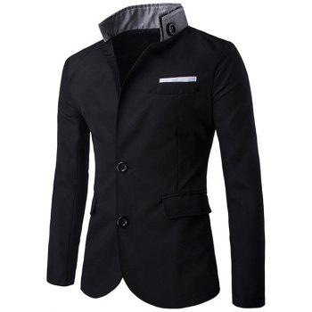 Sleeve Button Stand Collar Single Breasted Blazer
