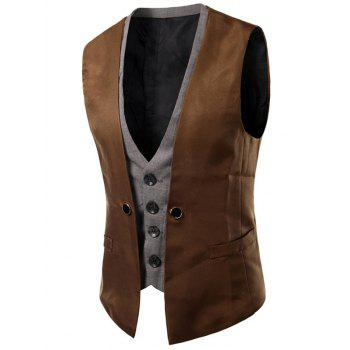 Buckled Plaid Insert unique poitrine Waistcoat