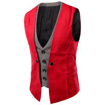 Buckled Plaid Insert Single Breasted Waistcoat