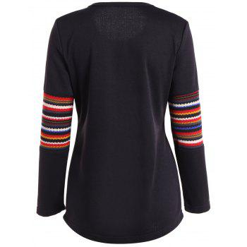 Ethnic Print Spliced Pocket Design T-Shirt - BLACK BLACK