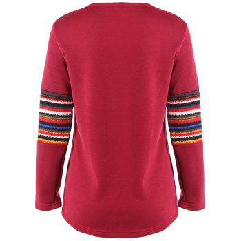 Ethnic Print Spliced Pocket Design T-Shirt - RED RED