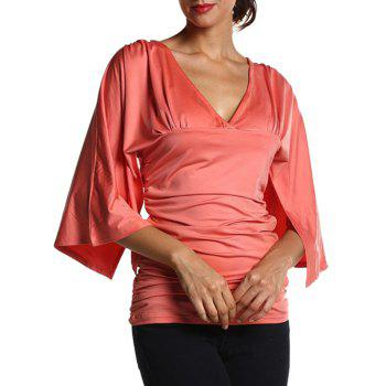Ruched Fitted Bell Sleeve Blouse
