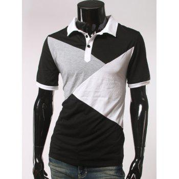Slimming Color Splicing Short Sleeve Polo T-Shirt