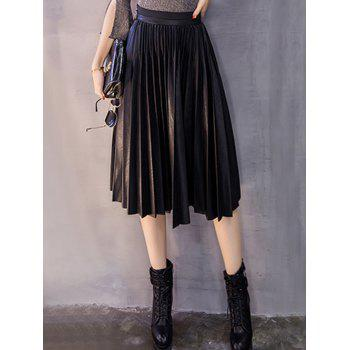 Midi Pleated PU Leather Skirt