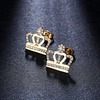 Micro Openwork Rhinestone Crown Earrings