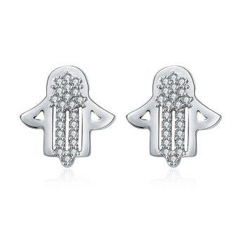 Rhinestone Polished Hand Earrings