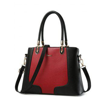 Metal Embellished PU Leather Color Block Tote