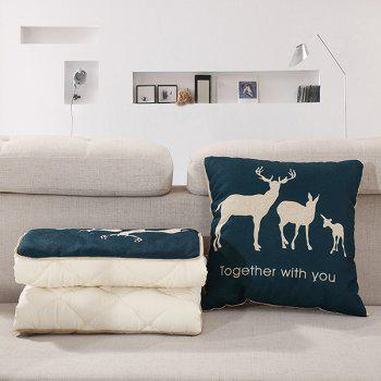 Comfortable Deer Printed Sofa Cushion Noon Break Quilt